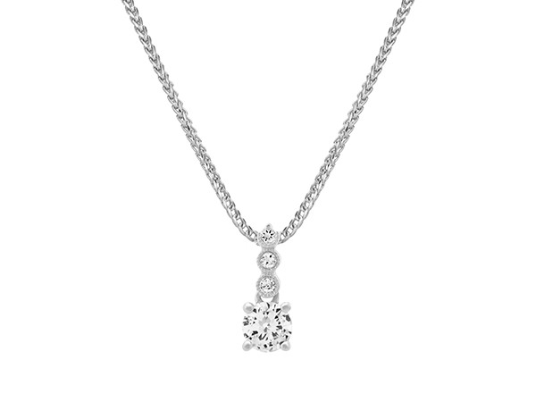White Sapphire Pendant in Sterling Silver.