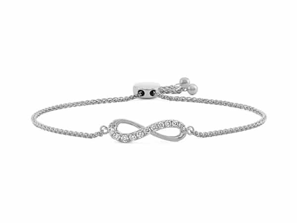 Infinity Diamond Bolo Bracelet in 14k White Gold.