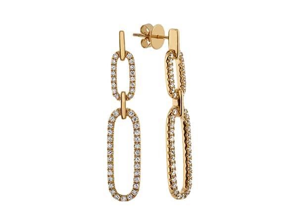 Bella Link Diamond Earrings in 14k Yellow Gold.