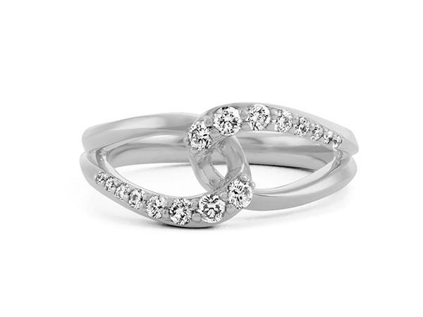 Infinity Diamond Ring in 14k White Gold.
