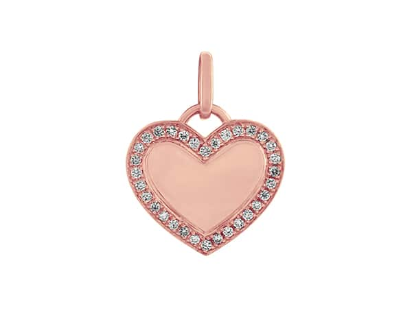 Pink, diamond-studded enamel heart charm.