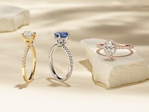 Three rings with halos or hidden halos.