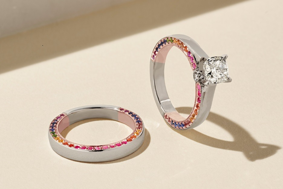Rainbow wedding rings.