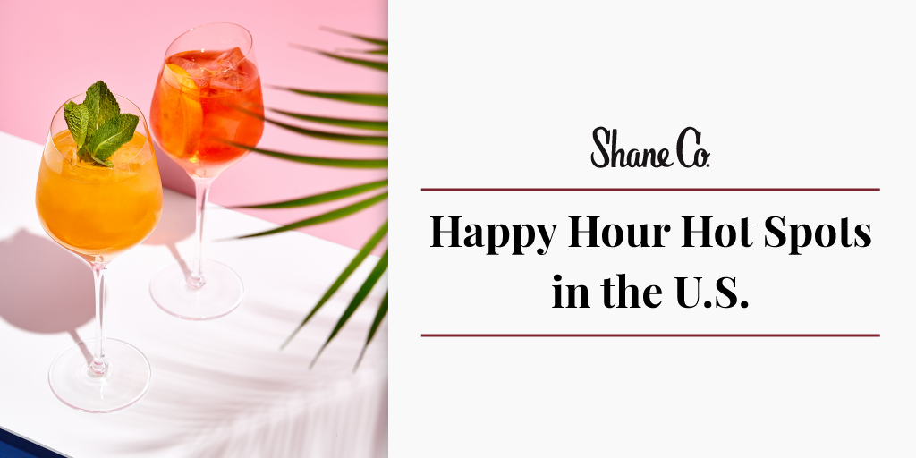 Title graphic for the list of happy hour hot spots in the U.S.